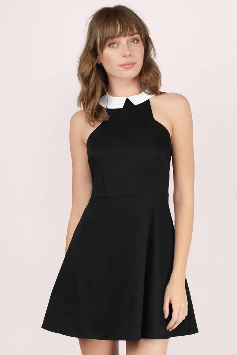 7a55f3a6474d Trendy Black Skater Dress - Collared Dress - Skater Dress -  33 ...