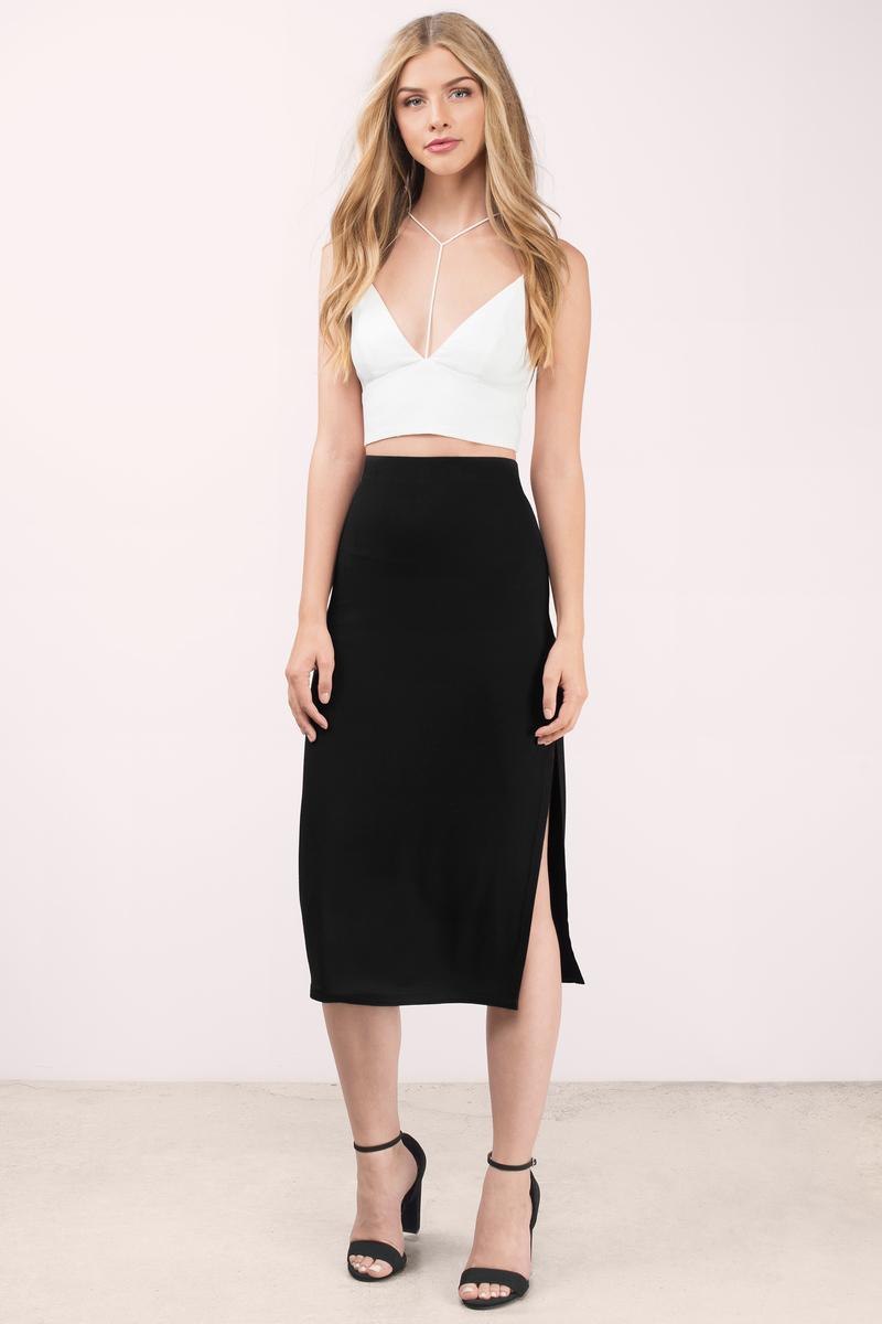 Cute Black Skirt - Black Skirt - High Waisted Skirt - Black Midi ...