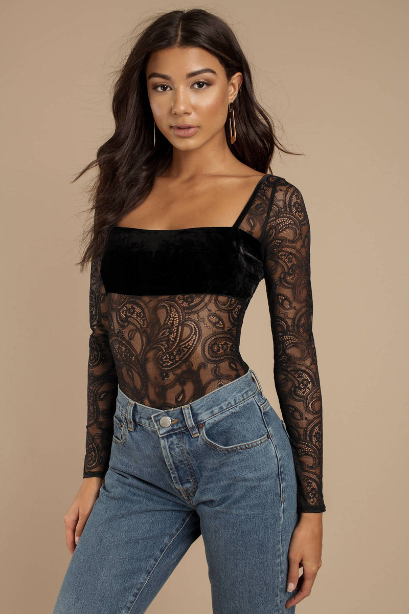 For Love and Lemons For Love And Lemons Romy Black Long Sleeve Bodysuit 789a9de41