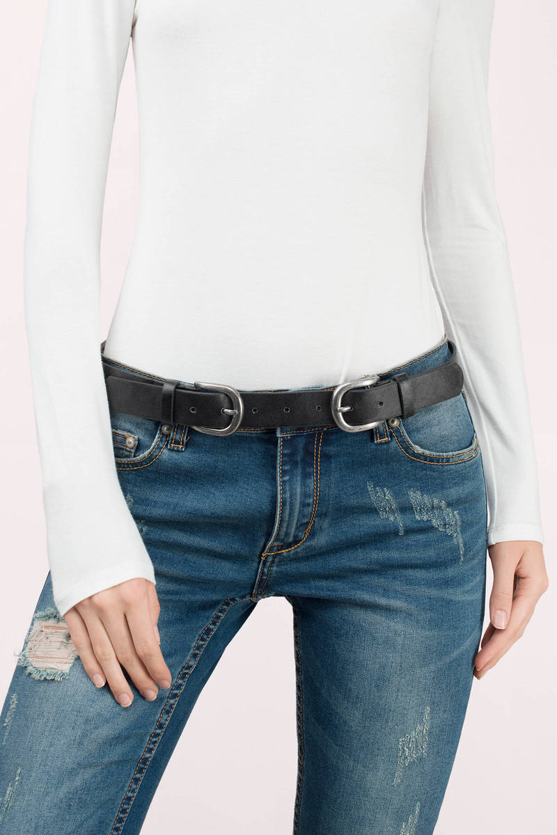 Rosalie Black Double Buckle Skinny Belt