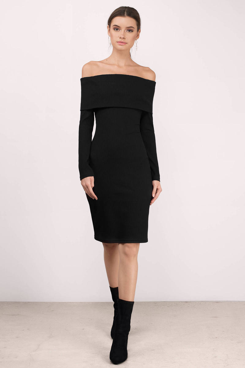 Rose Black  Ribbed Midi Dress