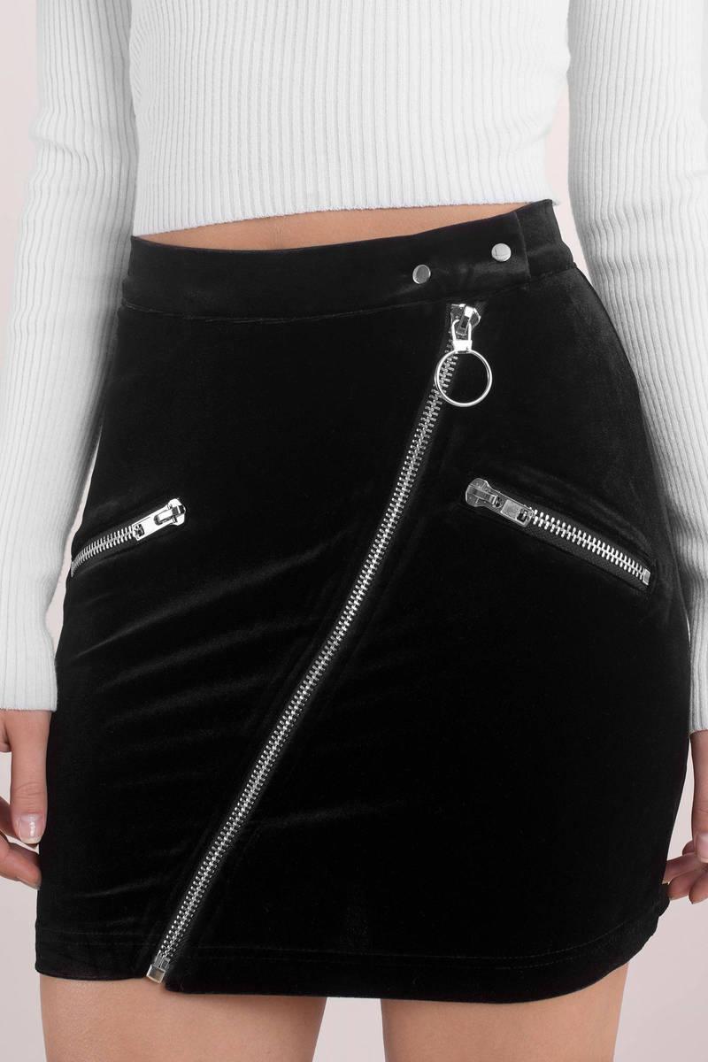 6f1d94a9b0 Black Skirt - O Ring Zipper Skirt - Black Velvet Zipper Skirt -  31 ...