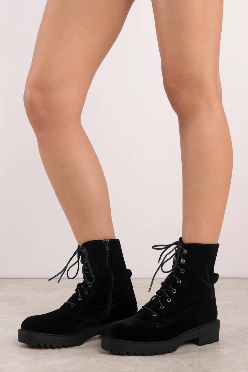 86c70b6b90dfc Black Report Footwear Boots - Vegan Lace Up Boots - Black Faux Suede ...