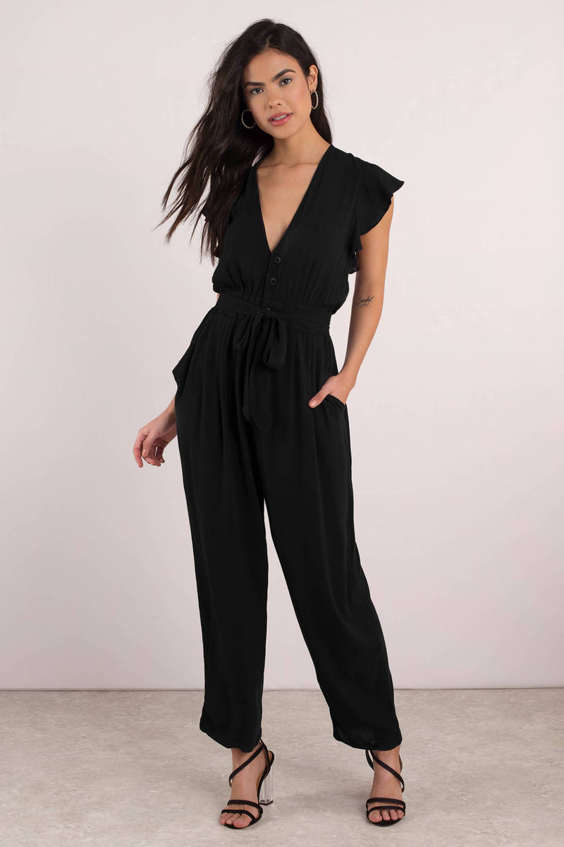 Free People Ruffle Your Feathers Black One Piece Jumpsuit ...