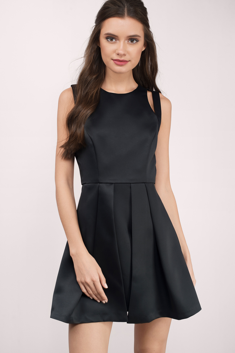 f8db15521e1e Trendy Black Skater Dress - Cut Out Dress - Skater Dress - $24 | Tobi US
