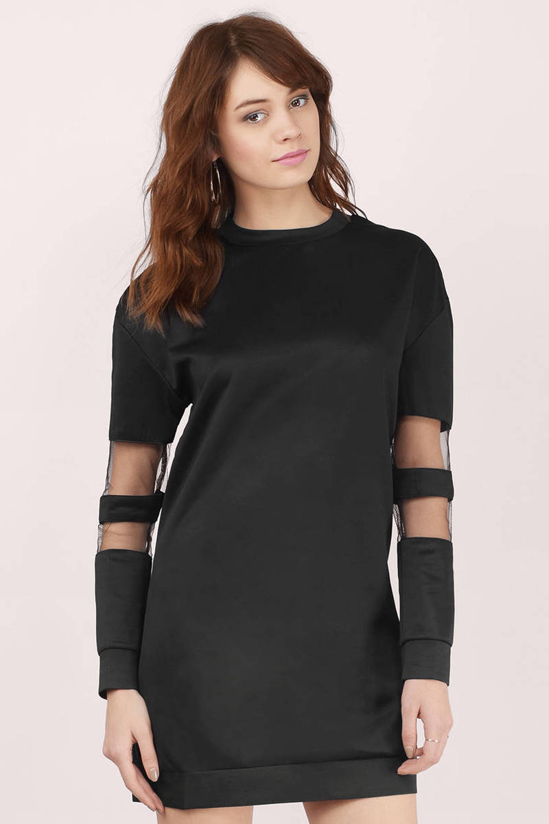Ryanne Sweat Black Mesh Shift Dress