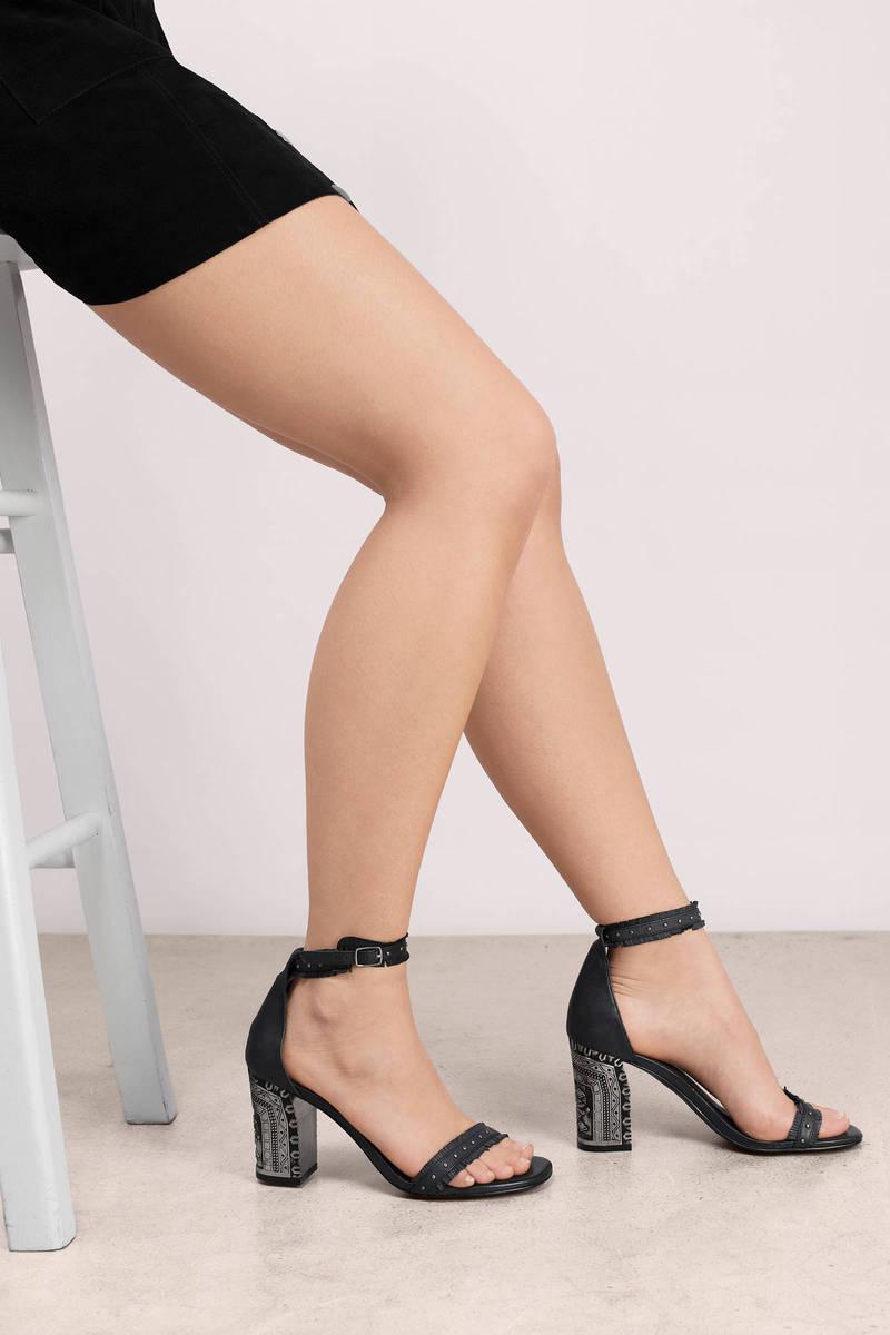 05d0375024e Black Heels - Block Heels - Ankle Strap Heels - Printed Heels -  55 ...