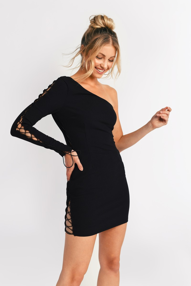 Black Bodycon Dress - One Shoulder Bodycon - Black Lace Up Dress ...