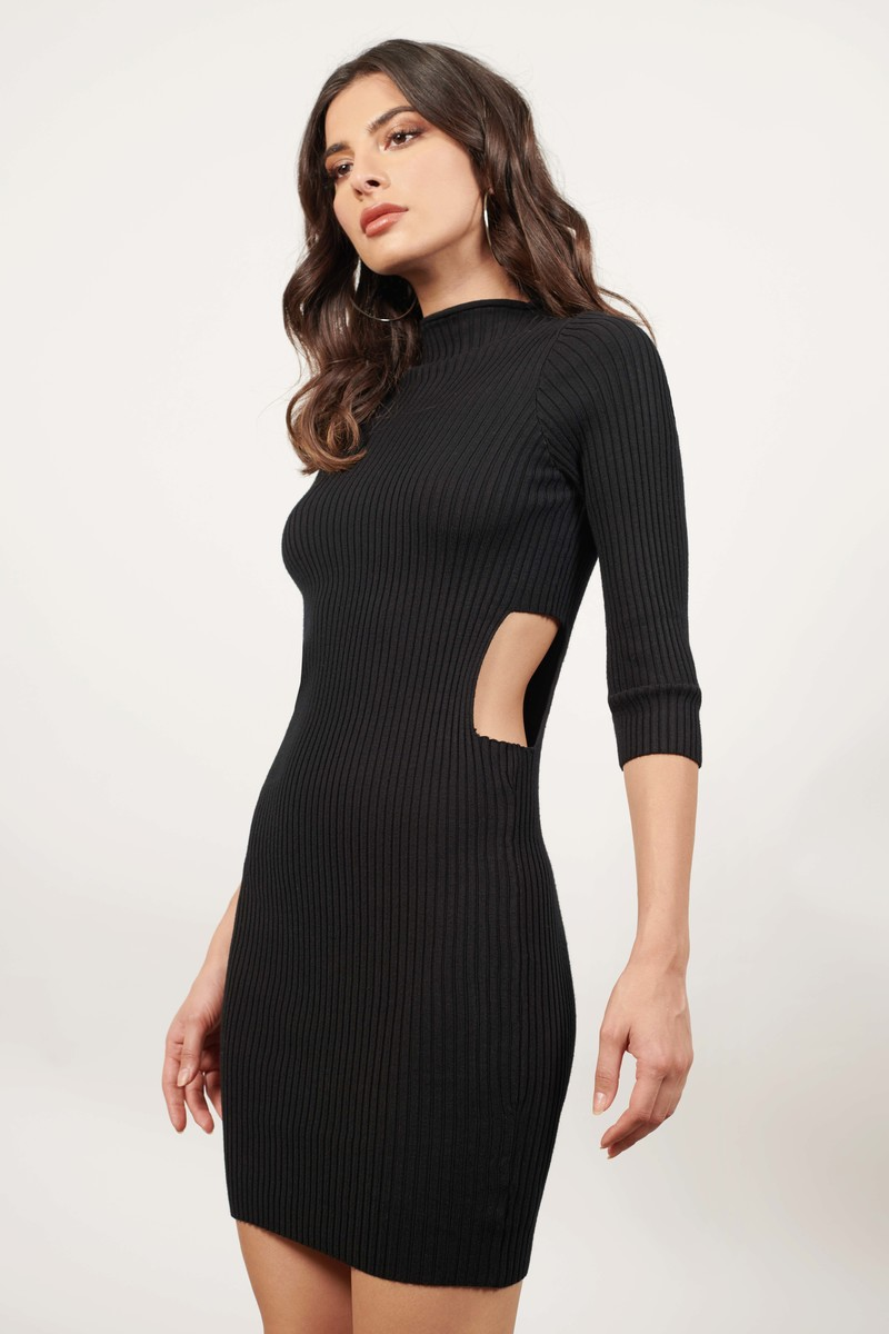 Sassy Side Grey Ribbed Bodycon Dress