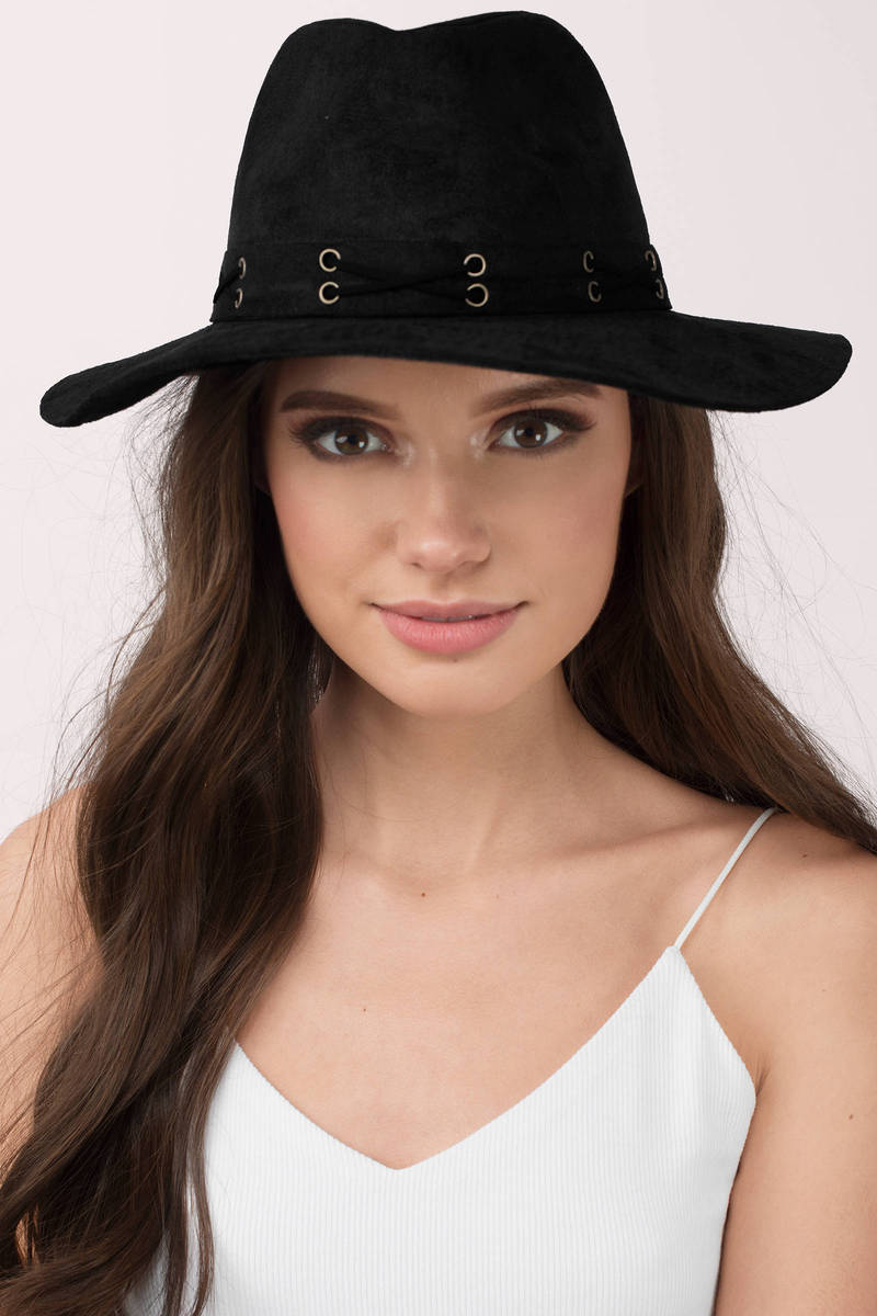 Say Something Black Faux Suede Panama Hat
