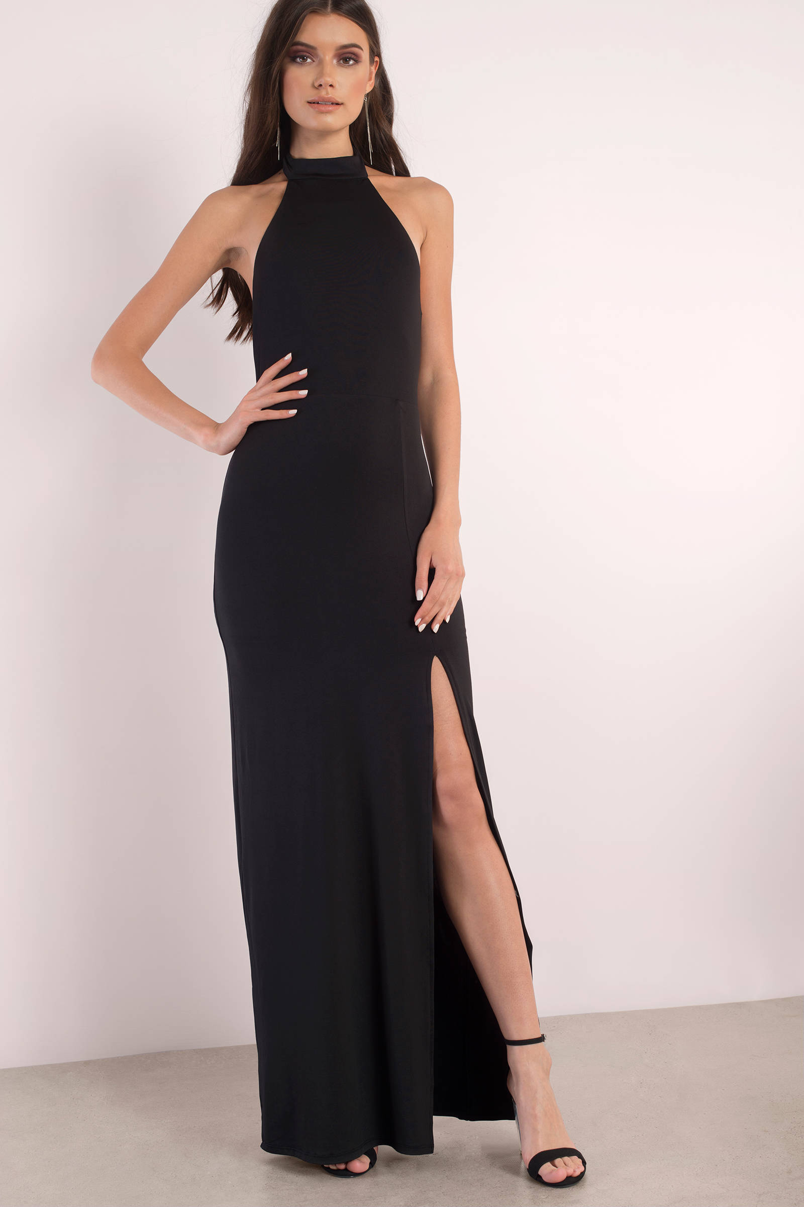 Halter black maxi dress