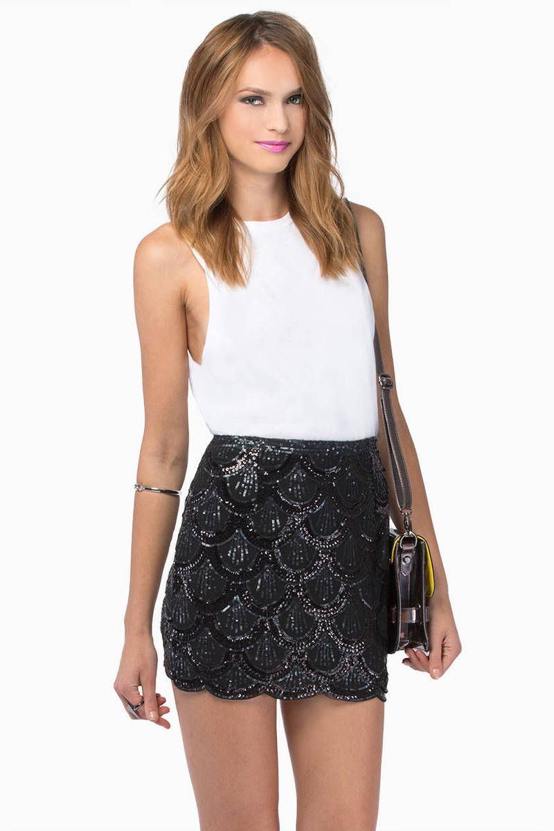 Under The Sea Black Sequin Skirt