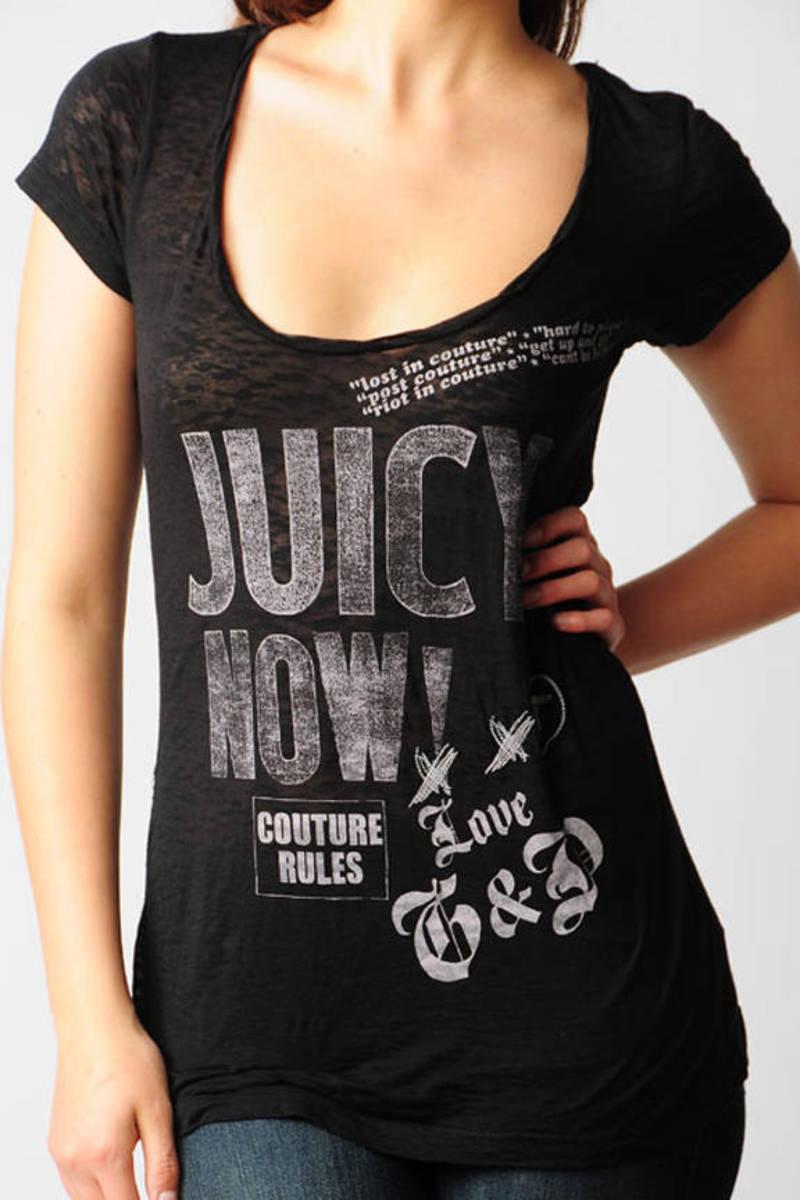 98f09f79d9ae Black Juicy Couture Shirt - Graphic T Shirt - Black Slogan T Shirt ...