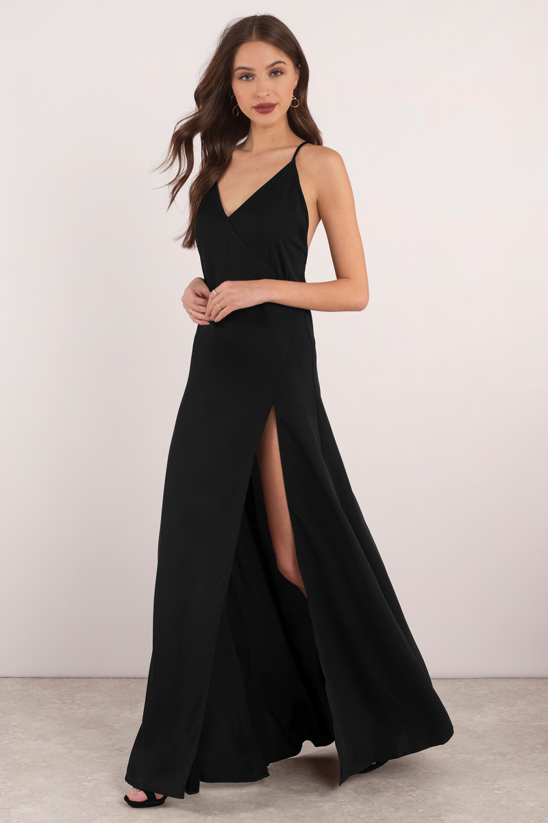 Cute Black Dress Open Back Dress High Slit Dress 44
