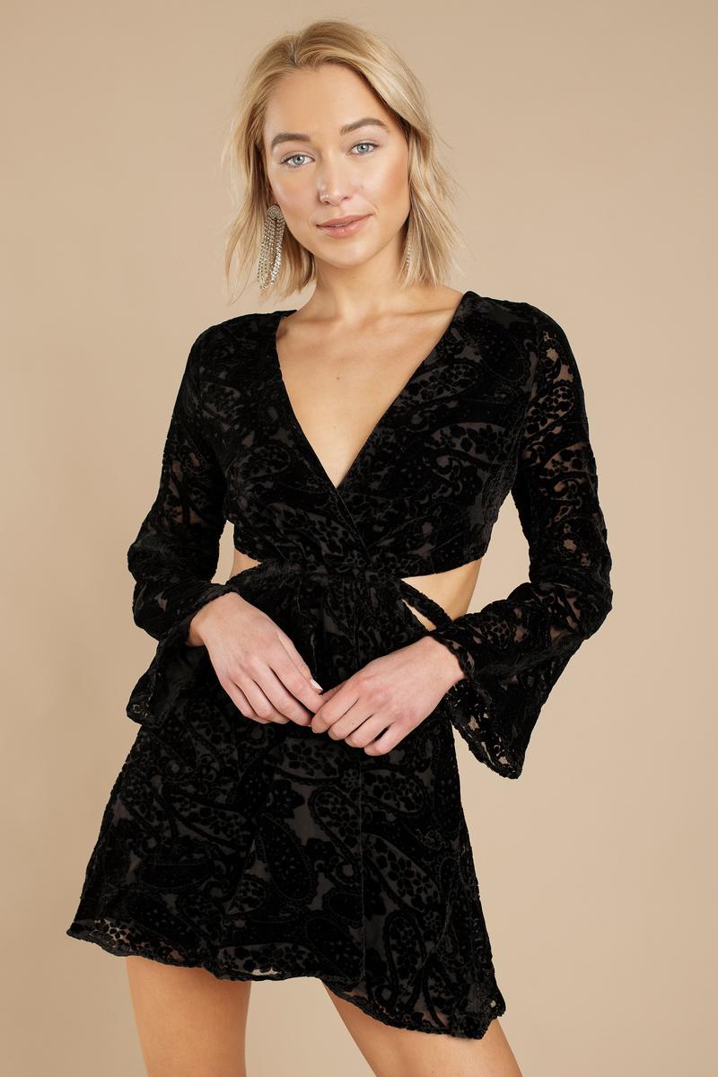 6792823bf Cute Black Dress - Velvet Dress - Raspberry Black Dress - Skater ...