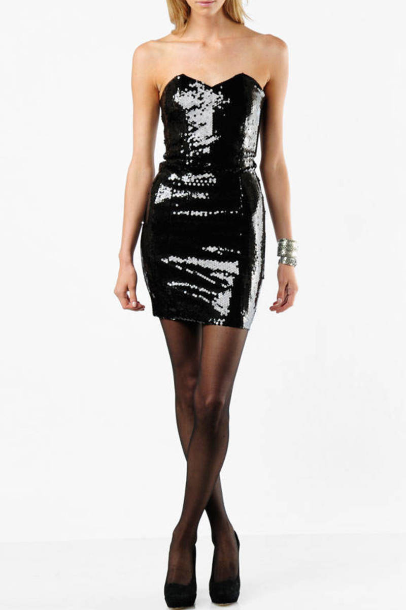 fad56cbce516 Black Alice+Olivia Mini Dress - Strapless Sequin Dress - Black Party ...