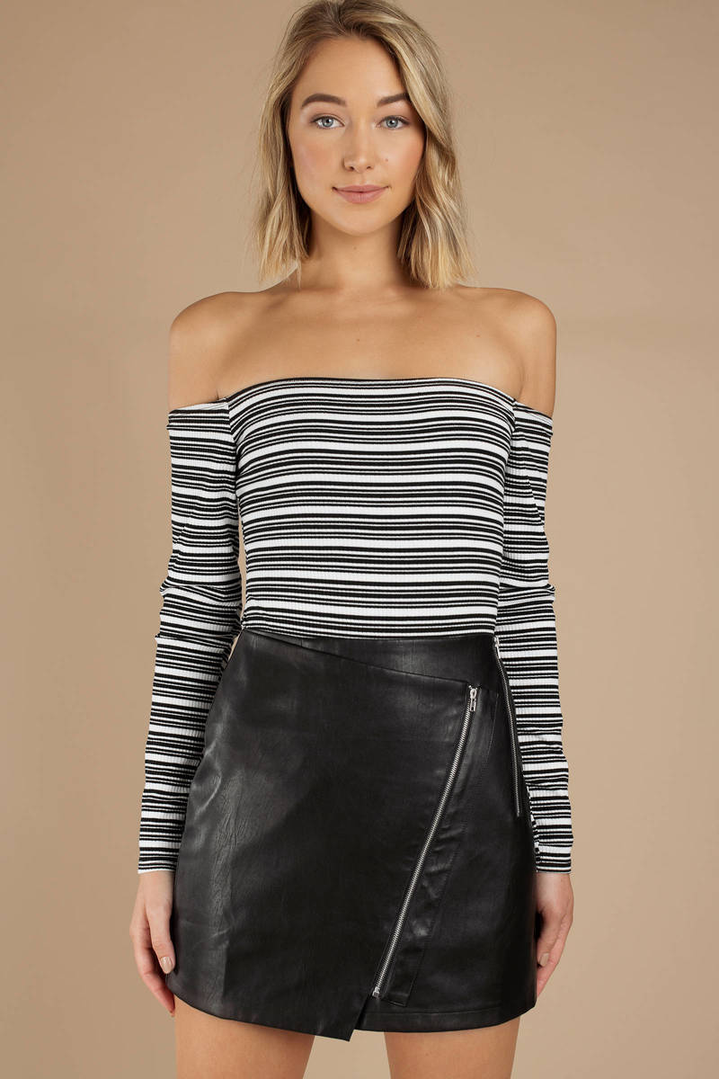 257be85b96cf Black Skirt - Faux Leather Mini Skirt - Black Moto Skirt - $24 | Tobi US