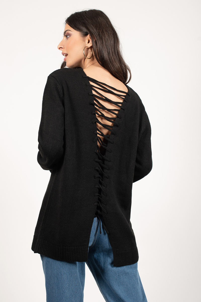 Shallow Waters Olive Lace Up Sweater