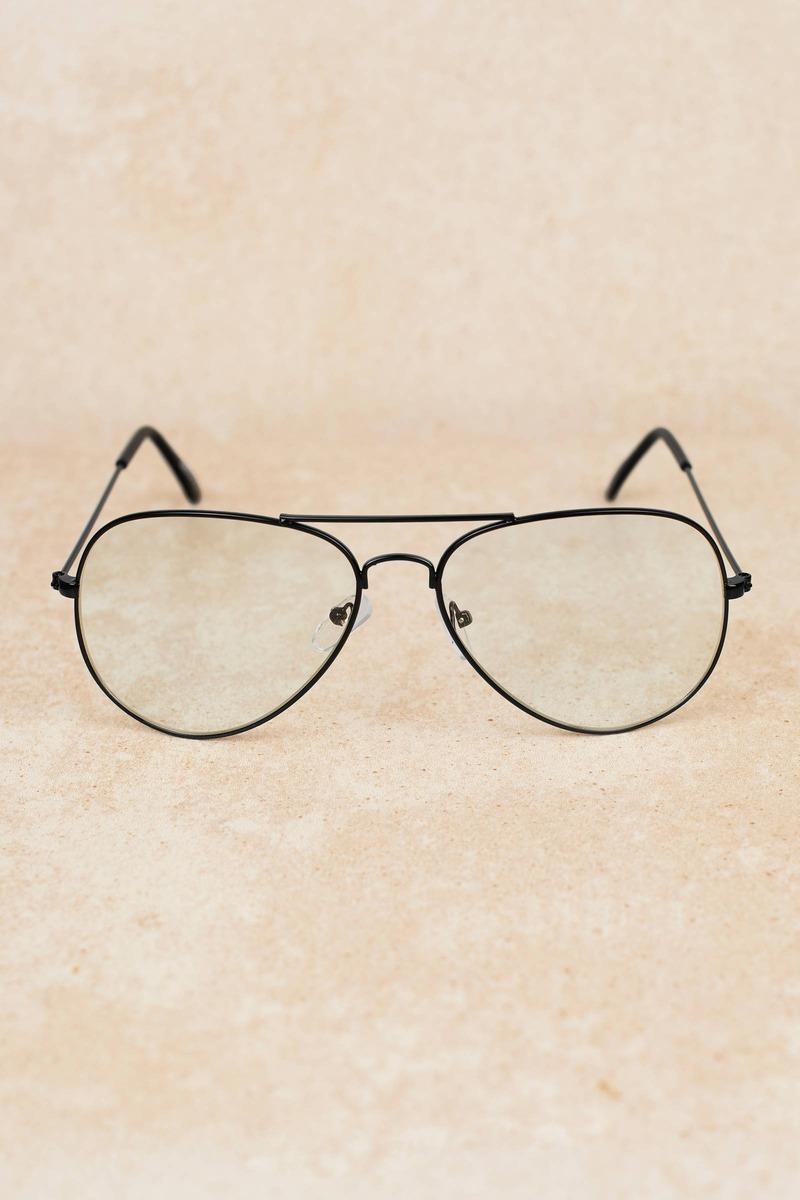 ac43325e5bdf Black Glasses - Aviator Frame Glasses - Black Reader Glasses - $12 ...