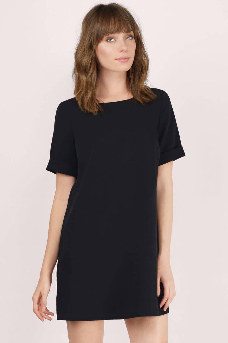 Shifting My Way Black Crepe Shift Dress