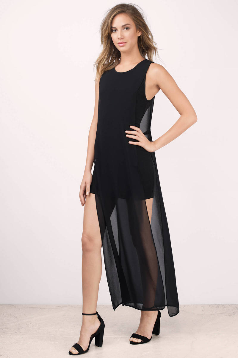Show Me More Black  Maxi Dress