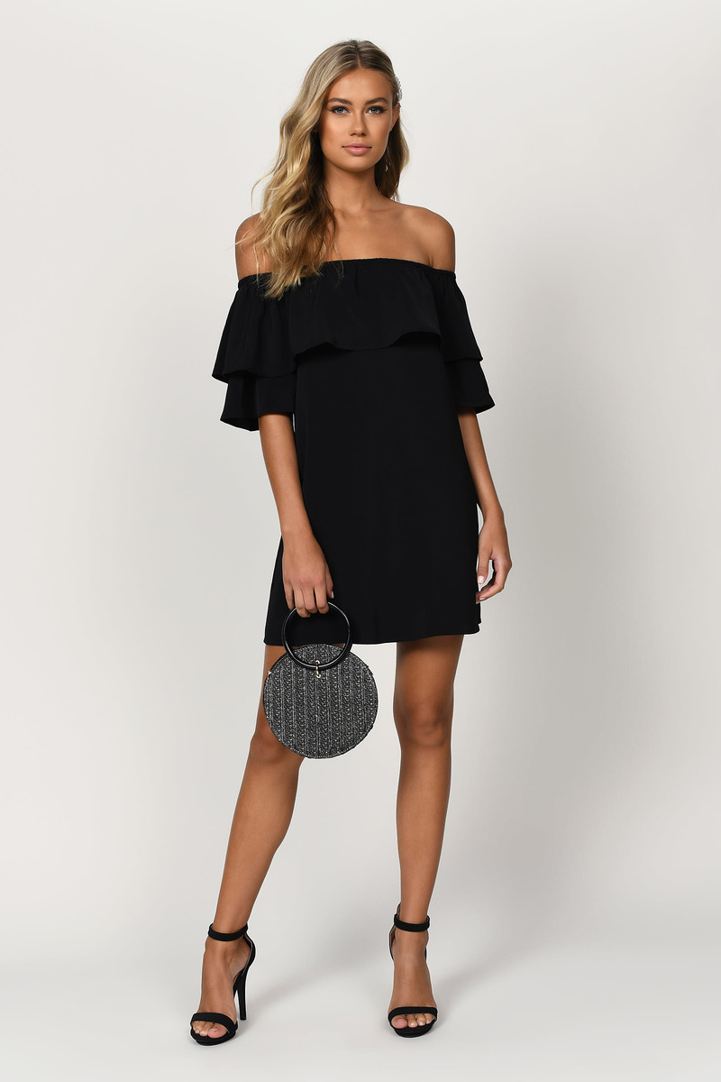 a88b5fa35f65 Trendy Black Shift Dress - Ruffle Mini - Black Bardot Dress -  24 ...