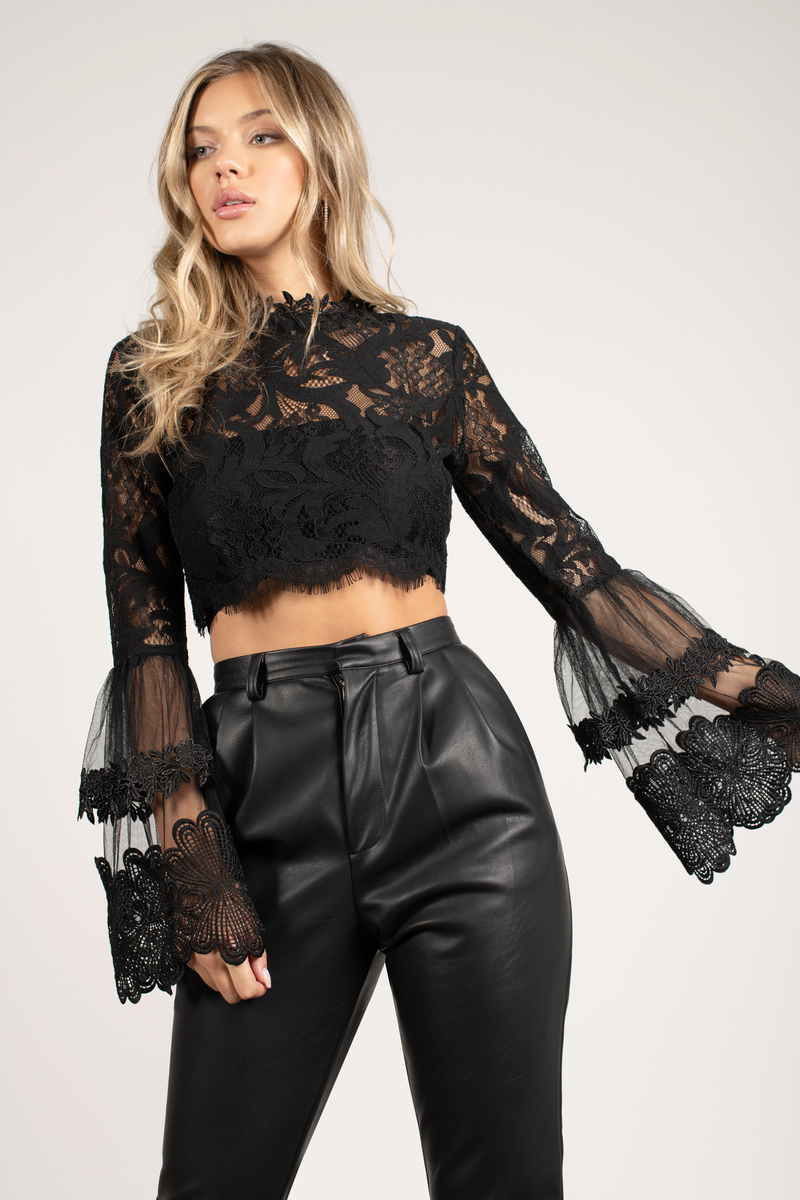 Trendy Black Crop Top - Sheer Crop Top - Black Lace Crop ...