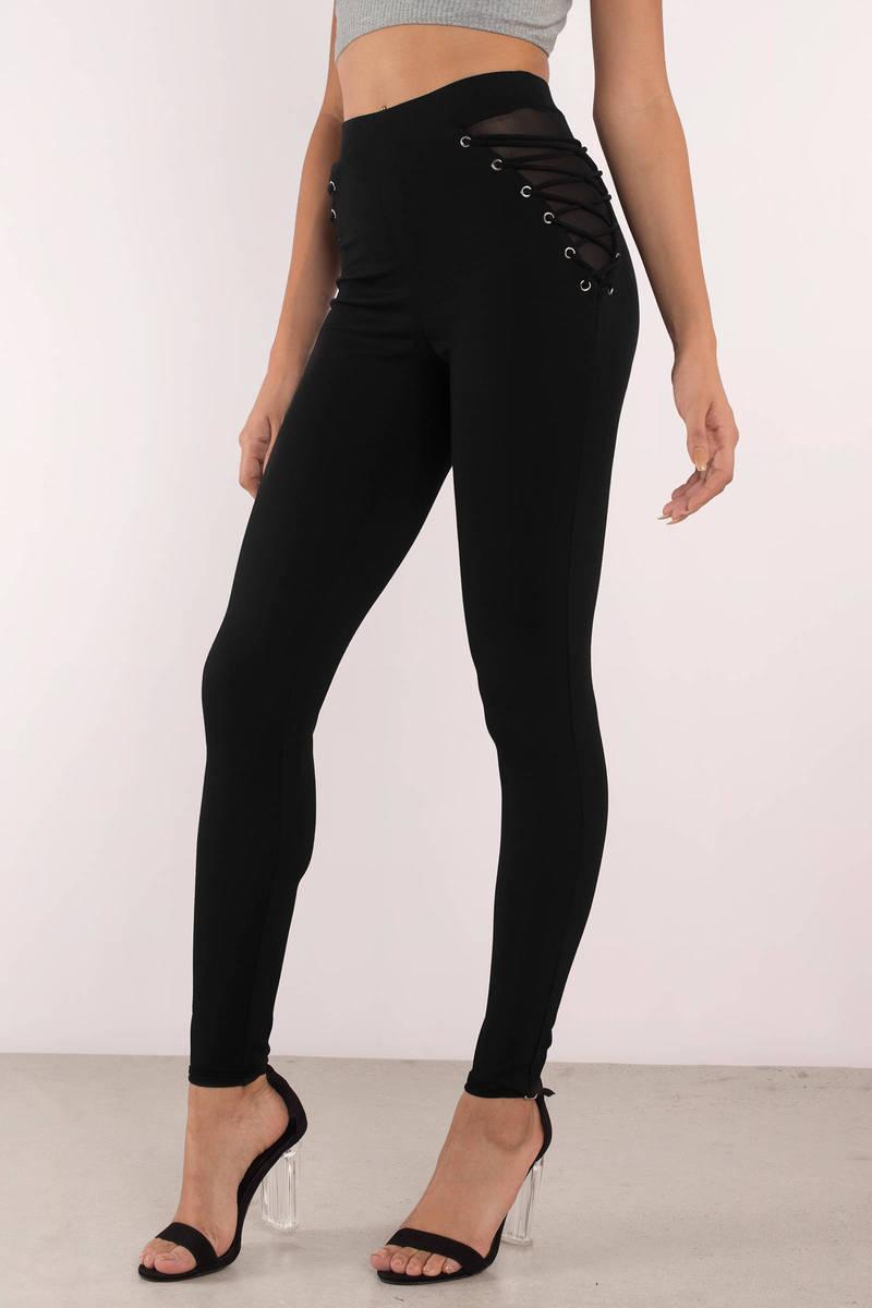 e712154ad5c18b Black Pants - Mesh Insert Pants - Black Lace Up Leggings - Tight ...