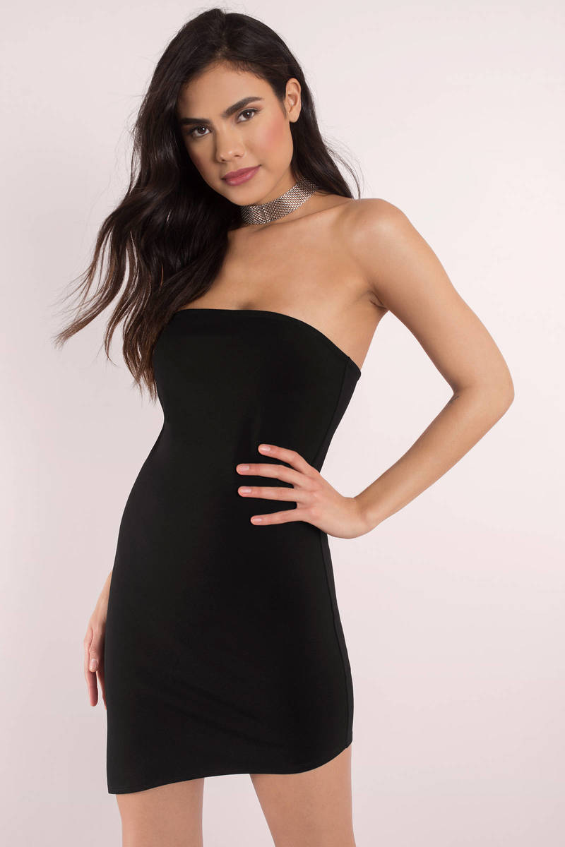 7a61009b3e7c Cute Black Dress - Strapless Dress - Cherry Black Dress - Bodycon ...