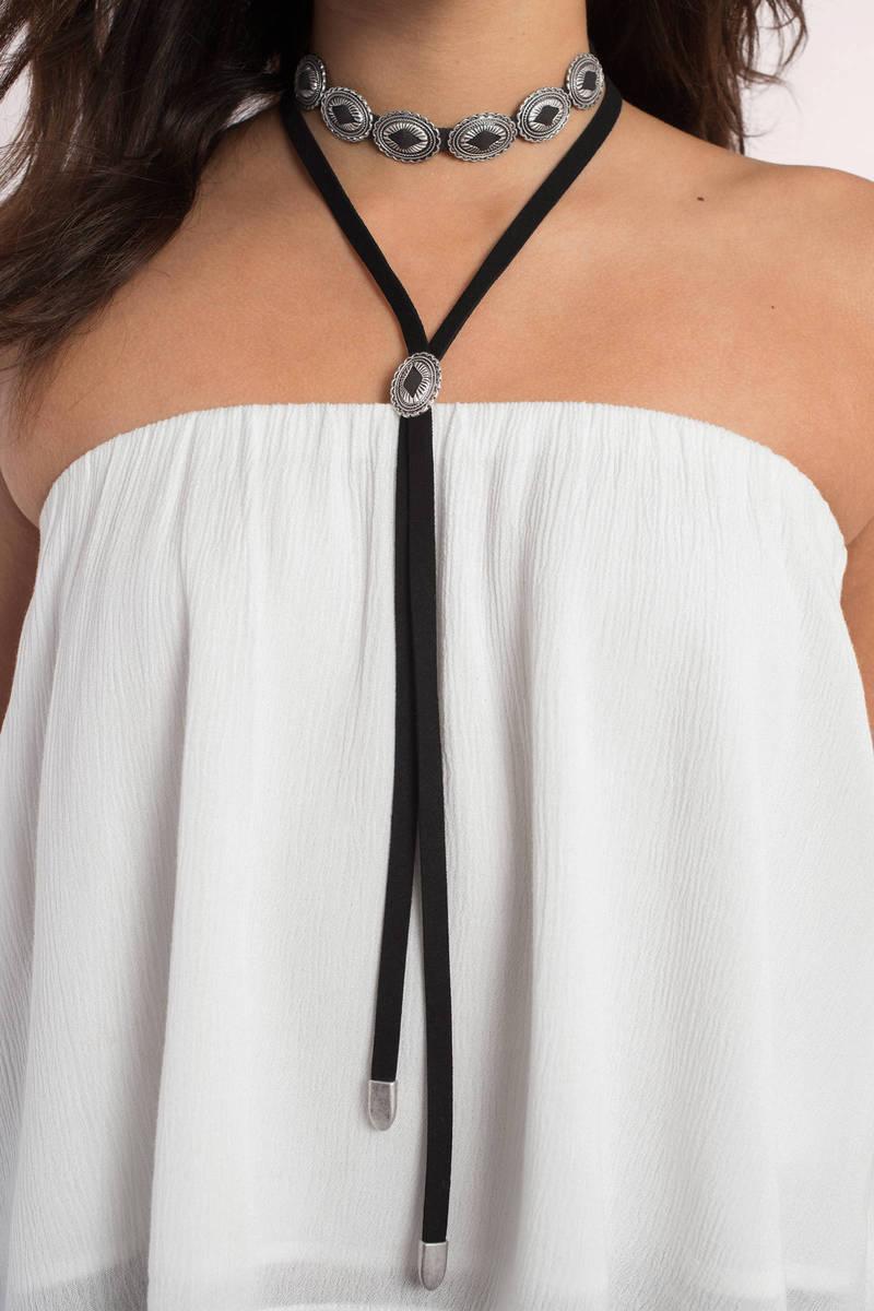 Cheyenne Black & Silver Layered Choker Necklace