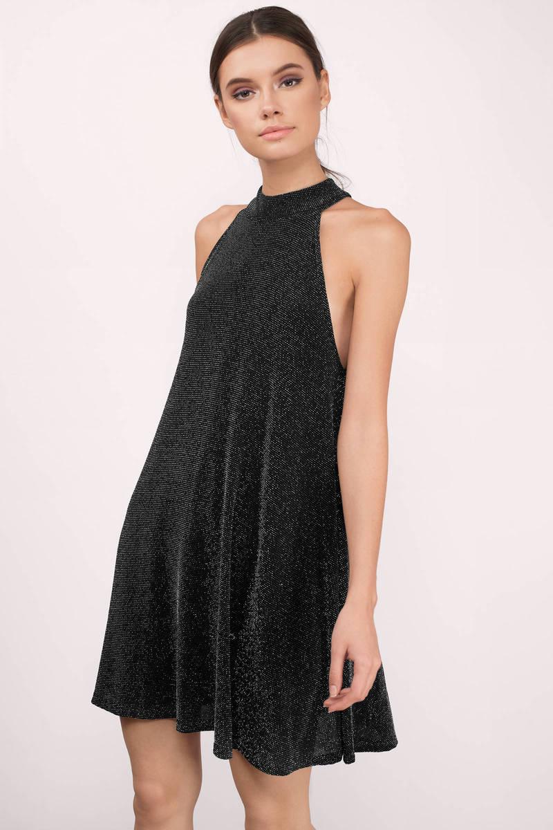 b2fee771937 Cute Black   Silver Shift Dress - Black Dress - Metallic Shift Dress ...