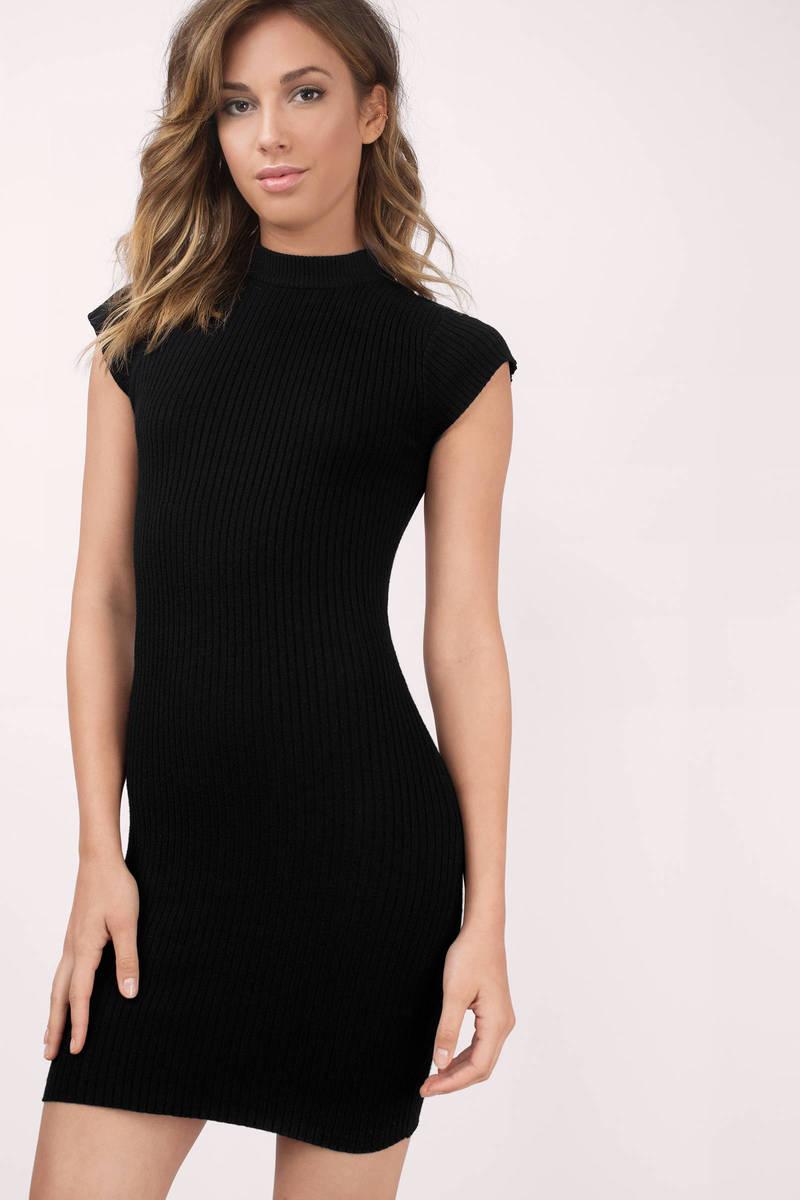 44f231e1ddaa Black Bodycon Dress - High Neck Bodycon - Black Ribbed Sleeveless ...