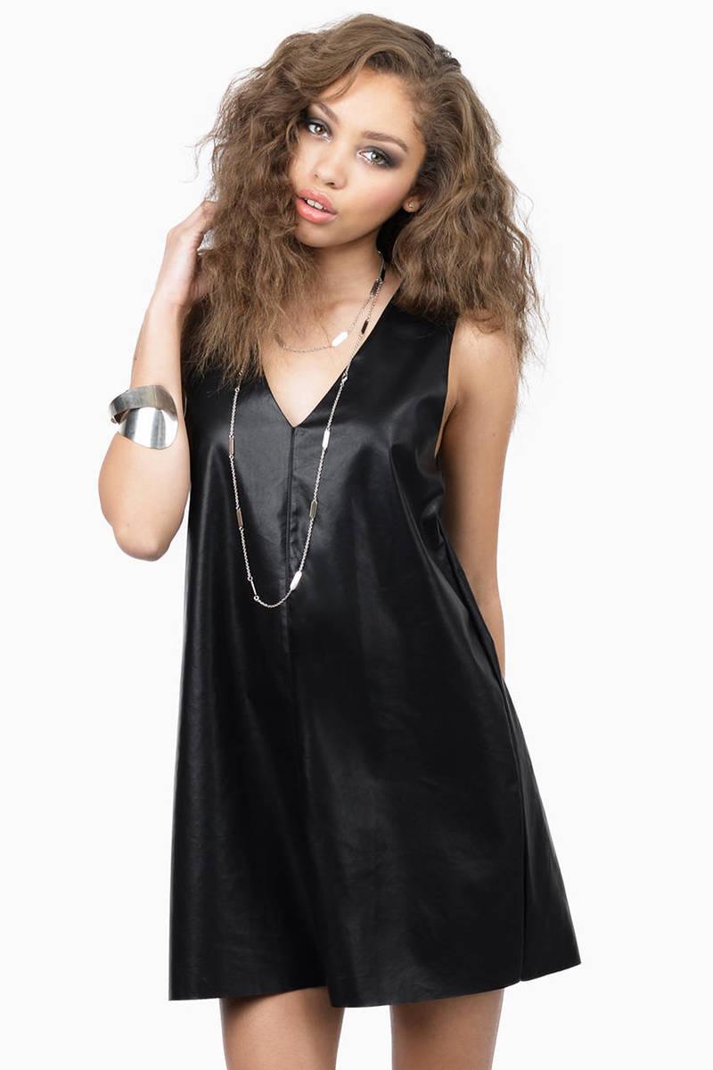 Sinner Or Saint Polyurethane Black Shift Dress