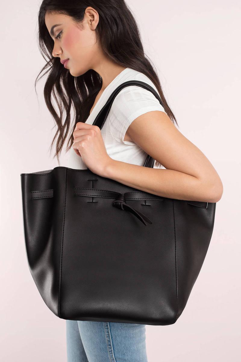 Melie Bianco Melie Bianco Skylar Black Faux Leather Tote Bag