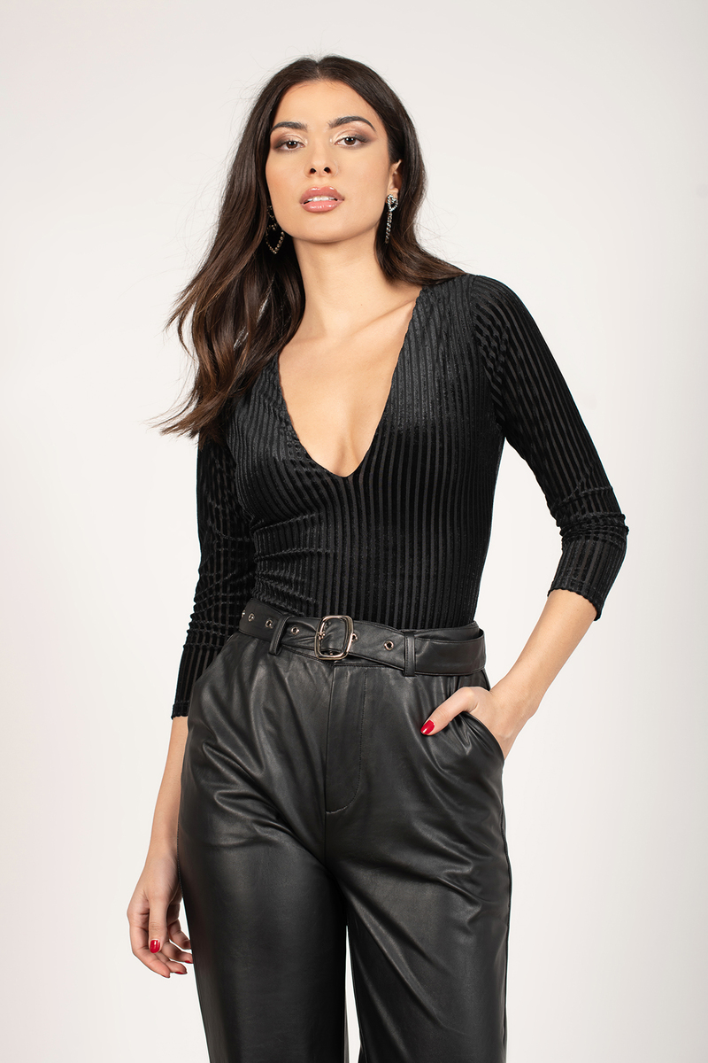 Black Bodysuit - Striped Bodysuit - Black Velvet Bodysuit -  26 ... 0bfdf9394