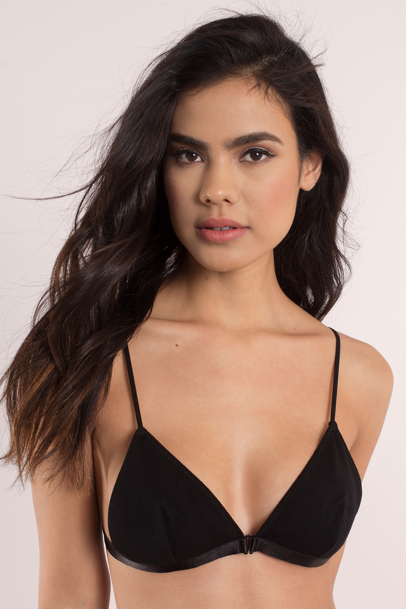 So Perfect Black Ribbed Bralette