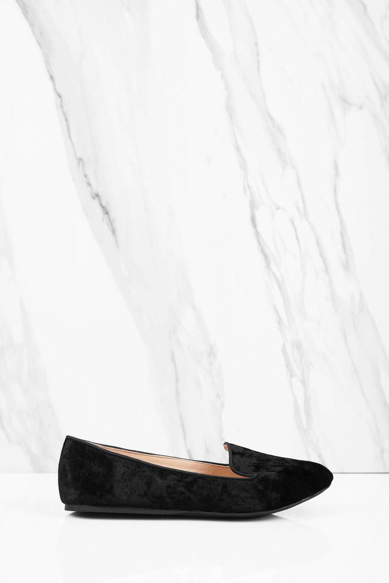 So Shiny Black Velvet Flats
