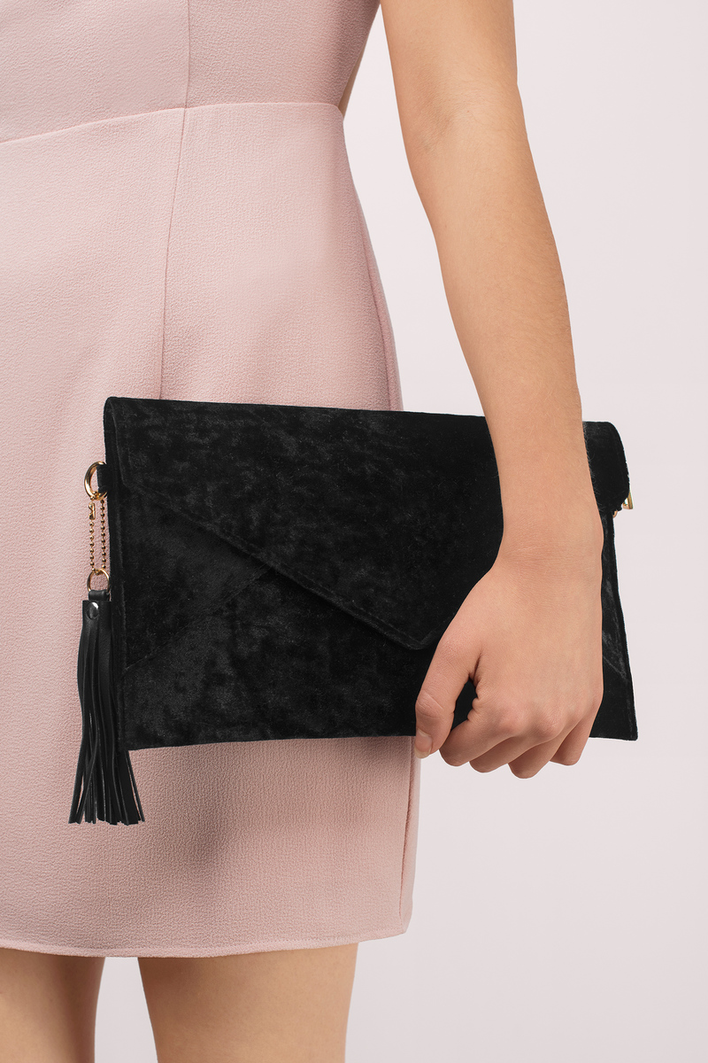 So Smooth Black Velvet Envelope Clutch