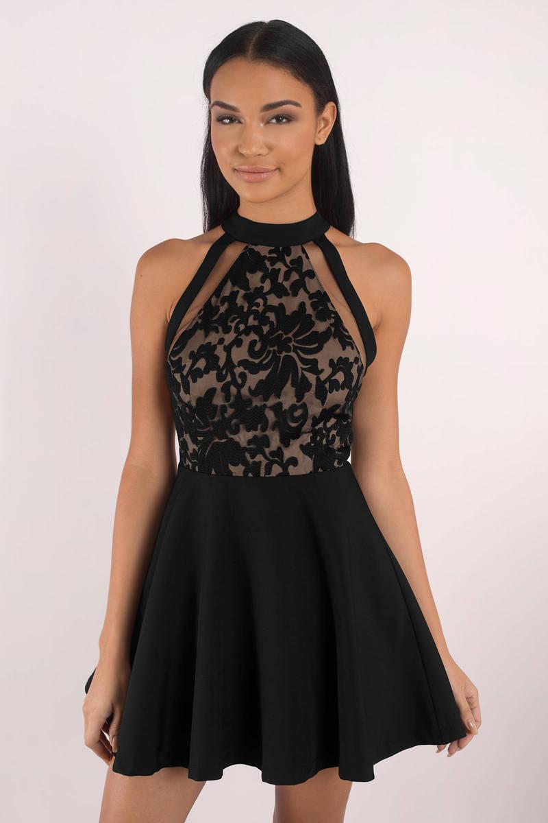 Sophia  Black Lace Skater Dress