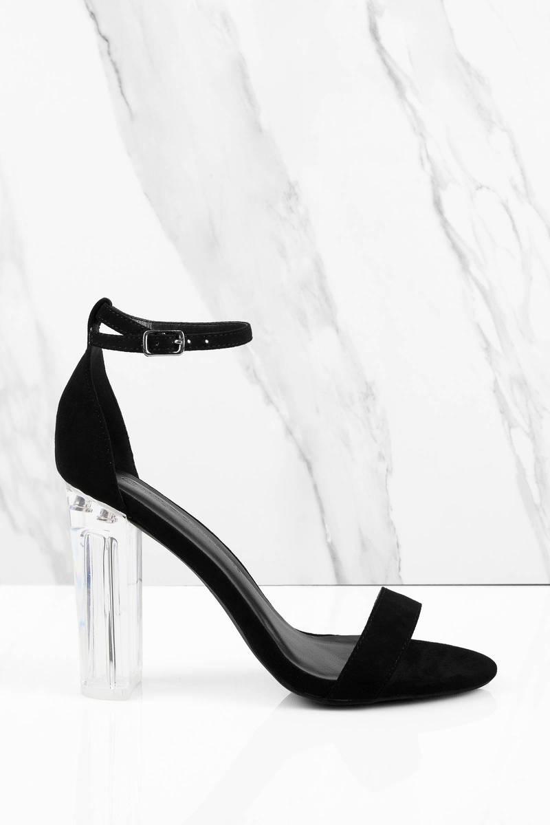 Black Heels - Lucite Peep Toe Heels - Black Clear Heels -  66