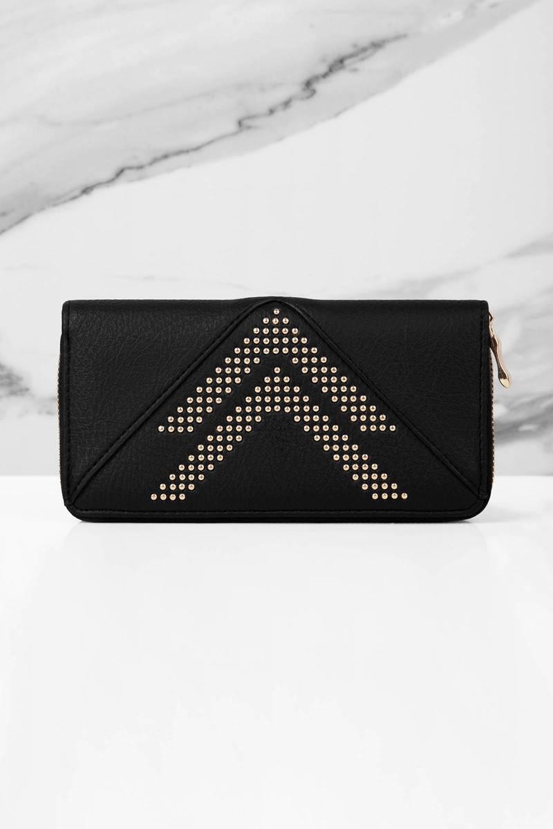 Straight & Narrow Black Studded Wallet