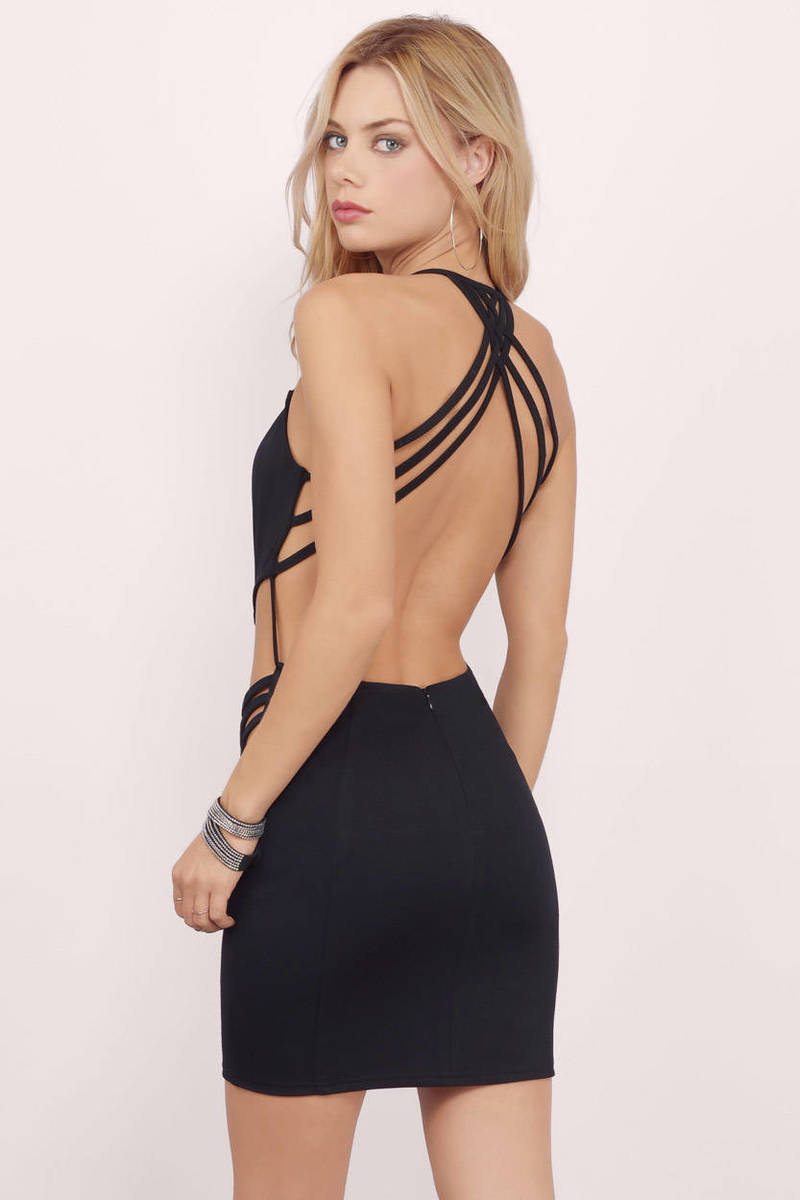 Straps For Days Black Bodycon Dress