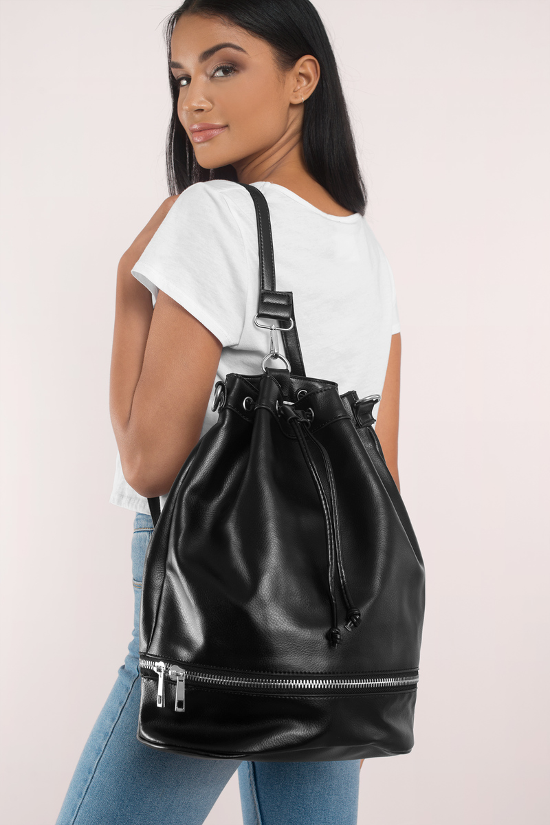 Street Beat Black Faux Leather Backpack