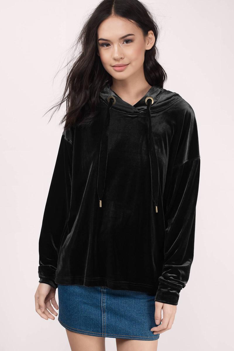 Street Style Black Velvet Hoodie
