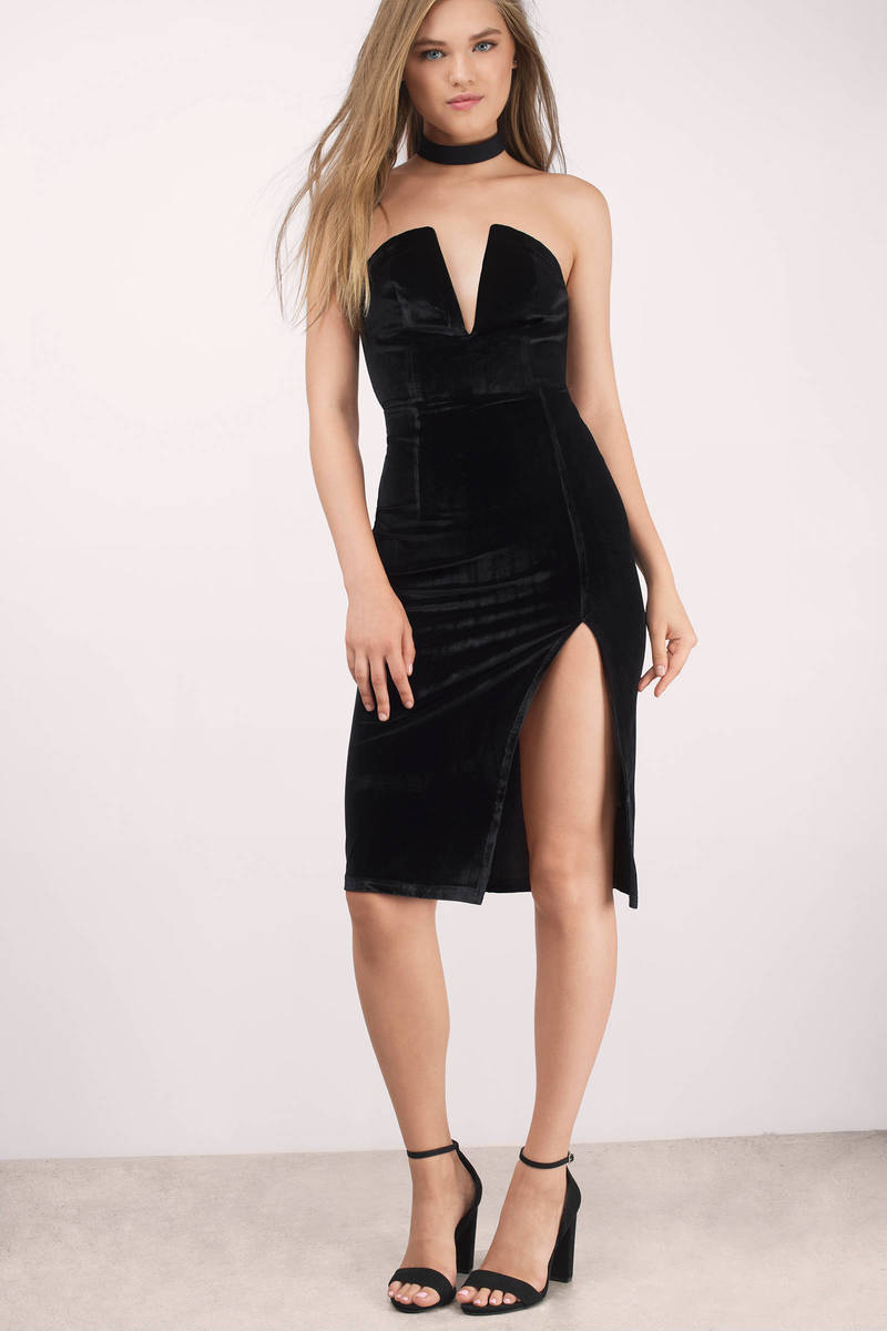 de6105b2a22e Sexy Black Bodycon Dress - Strapless Dress - Bodycon Dress -  14 ...