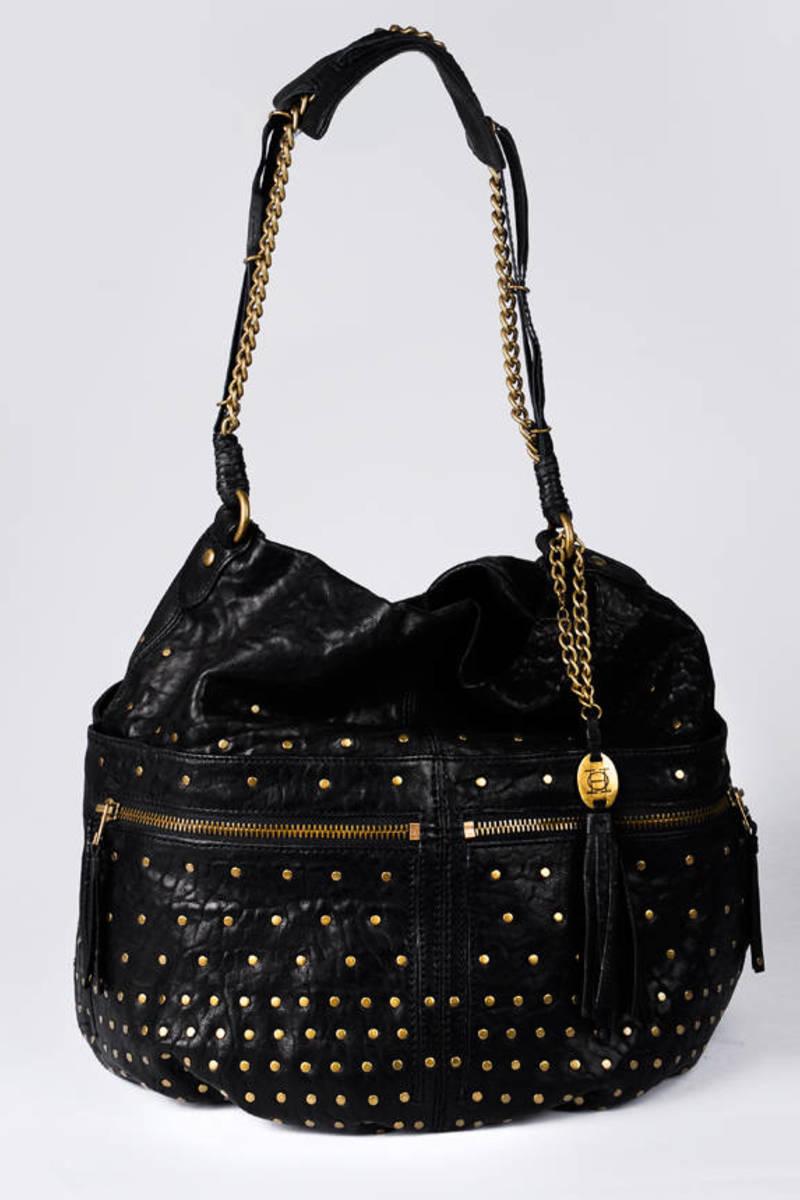 Olivia Harris By Joy Gryson Black Studded Hobo Bag