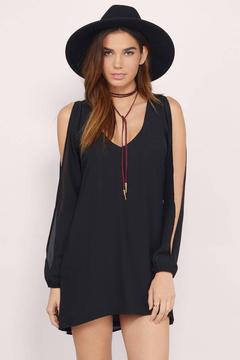 Summer Breeze Black Shift Dress