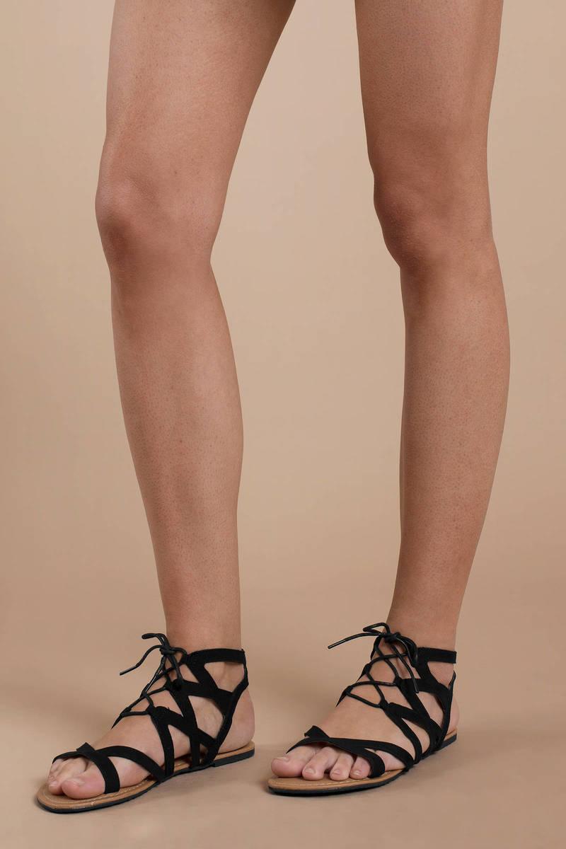 7d5e37376806 Black Sandals - Strappy Black Sandals - Flat Black Lace Up Sandals ...