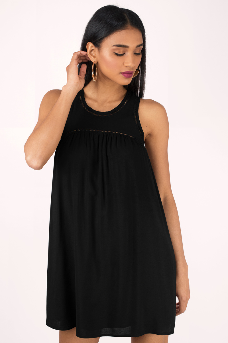 Black Day Dress - Black Dress - Babydoll Mini Dress - Day Dress - $26