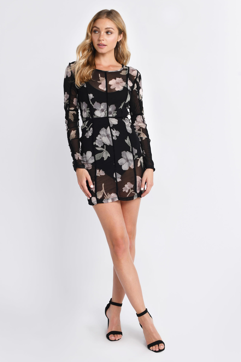 be286a5e8b90 Black Bodycon Dress - Floral Print Mini Dress - Black Floral Mesh ...